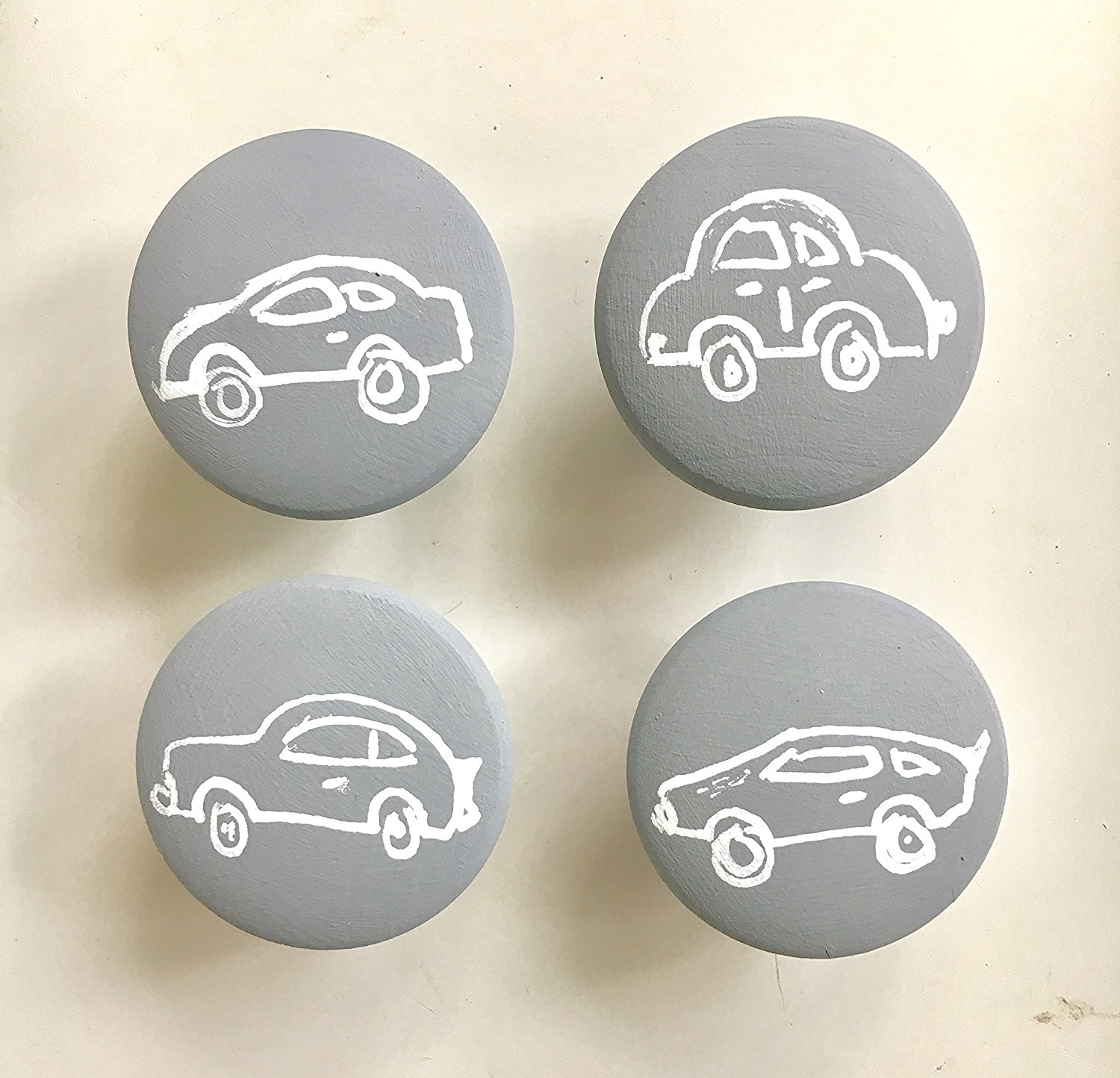 Set of 4 car knobs with screws, Hand-painted wooden knobs for cabinets, dresser, drawer pulls, any color custom/kids room/car lover/boys room / 4 knobs)