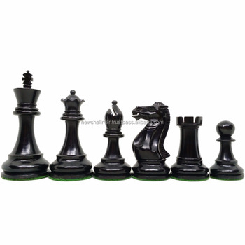 Pro Staunton Weighted Madeira Chess Pieces Ebonised wood set 4 ""