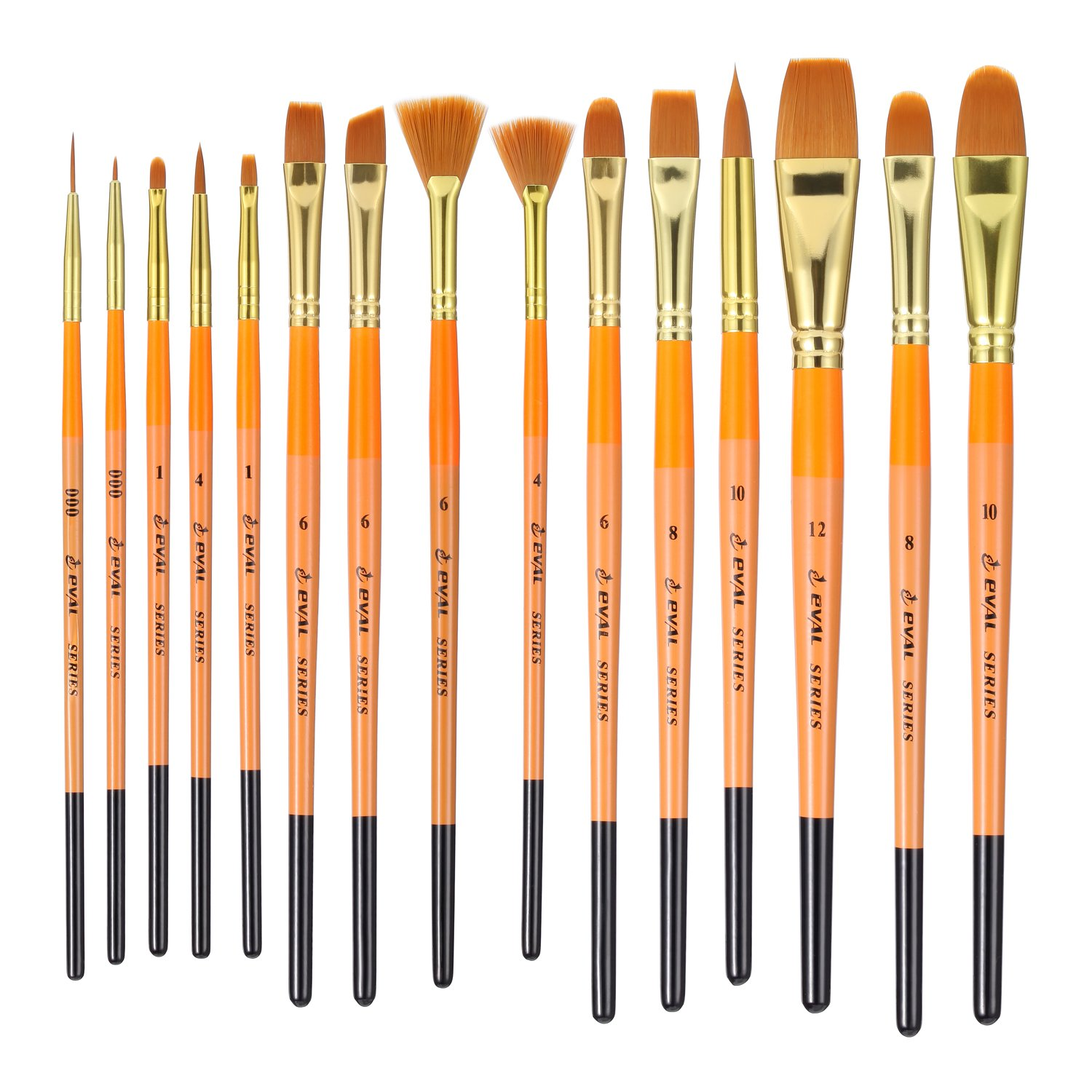 15Pcs/Set Art Paint Brush Set Professional Nylon Hair and Birch Wood Handle Artist Brushes for Watercolor Acrylic Gouache Oil Painting by EVAL with Portable Carry Case Art Travel Kit (15Pcs)