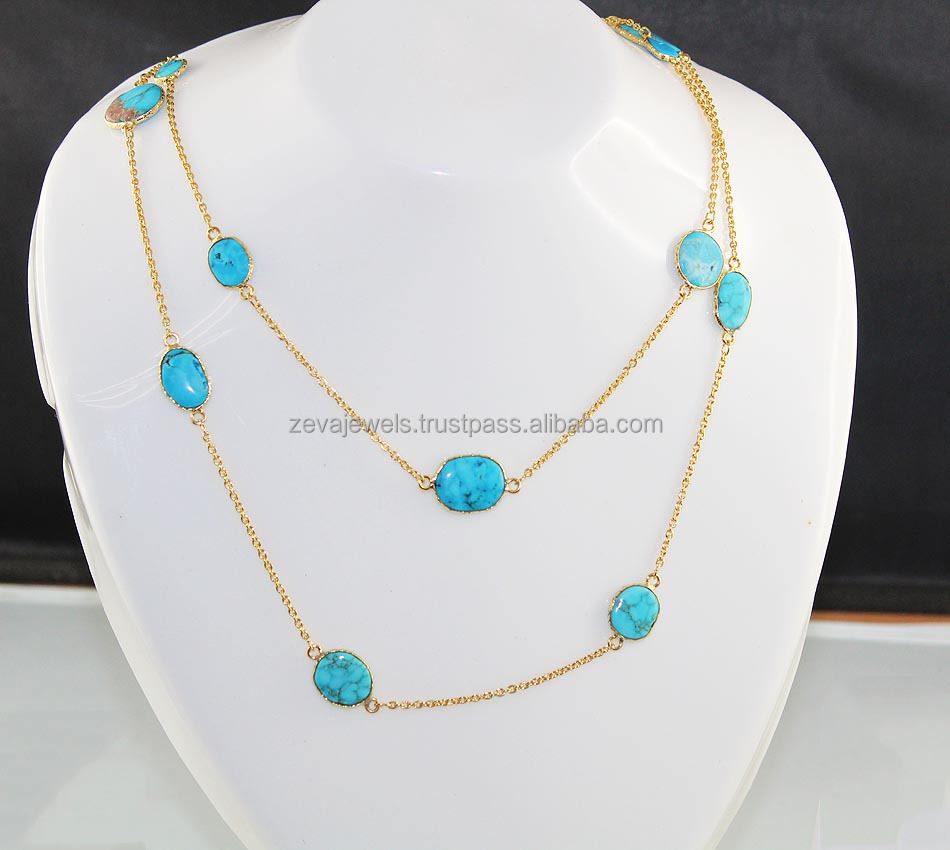 Awesome Gold Plated Brass Double Layer Turquoise Stone Necklace Jewelry