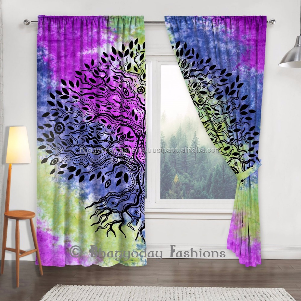 Indian Tie & Dye Door Window Curtain/Drapes Penal /Valance/Wall Hanging /Portiere