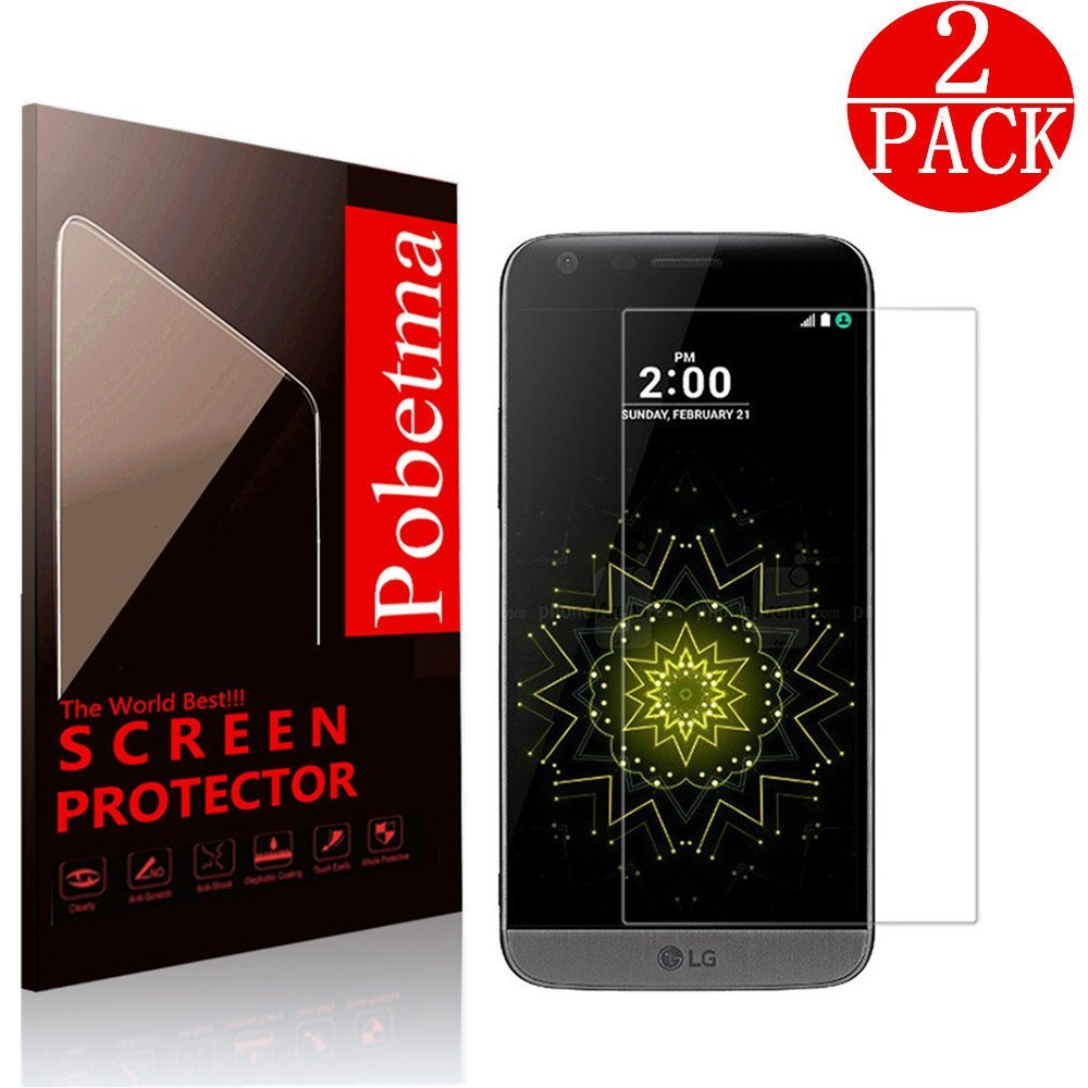 [2 Pack] LG G5 Screen Protector, Pobetma [Bubble Free] [HD Ultra Clear] [Anti-Bubble] [Anti-Scratch] [9H Hardness] Tempered Glass Screen Protector for LG G5