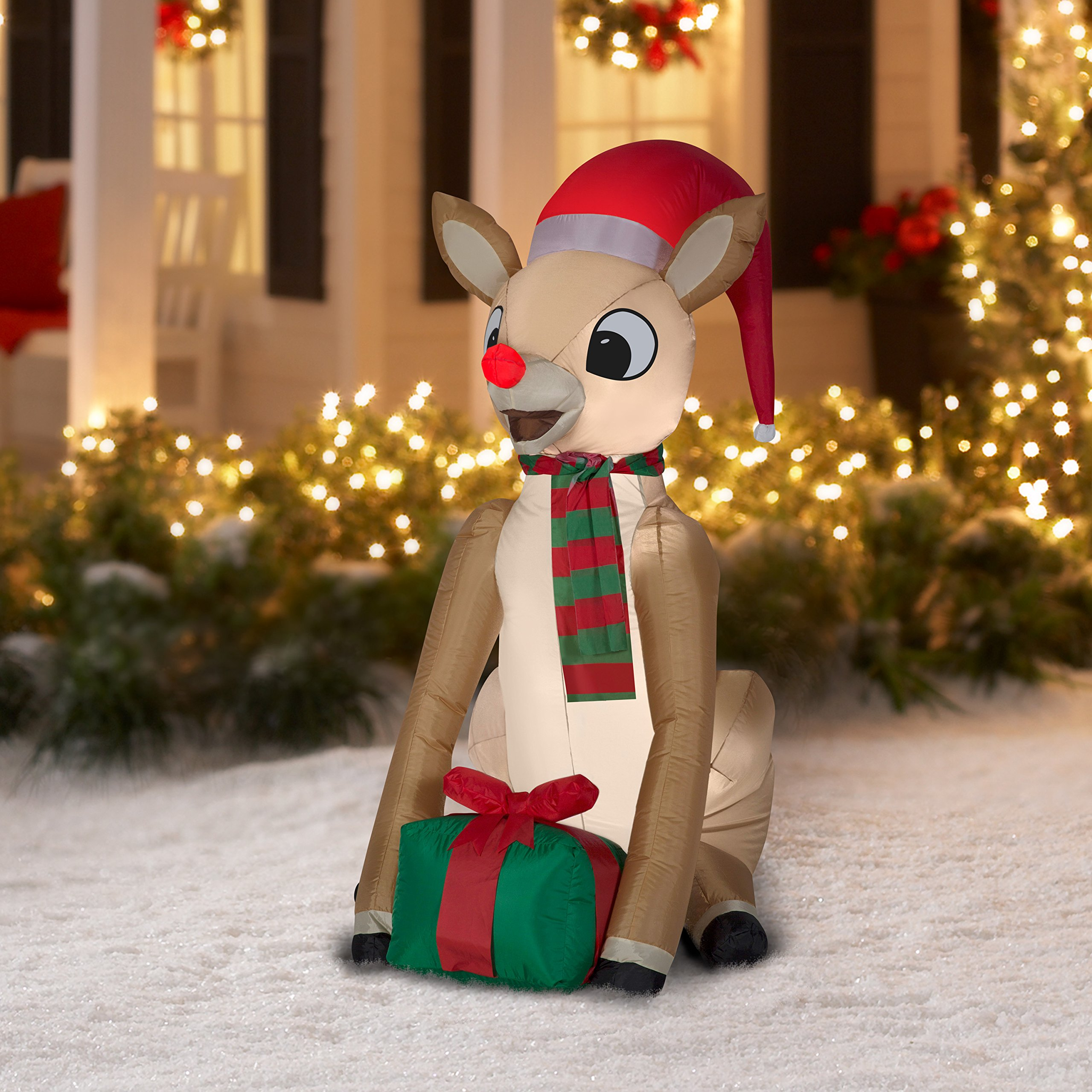 9c57a1655d68e Get Quotations · Airblown Inflatable-Rudolph with Present by Gemmy  Industries