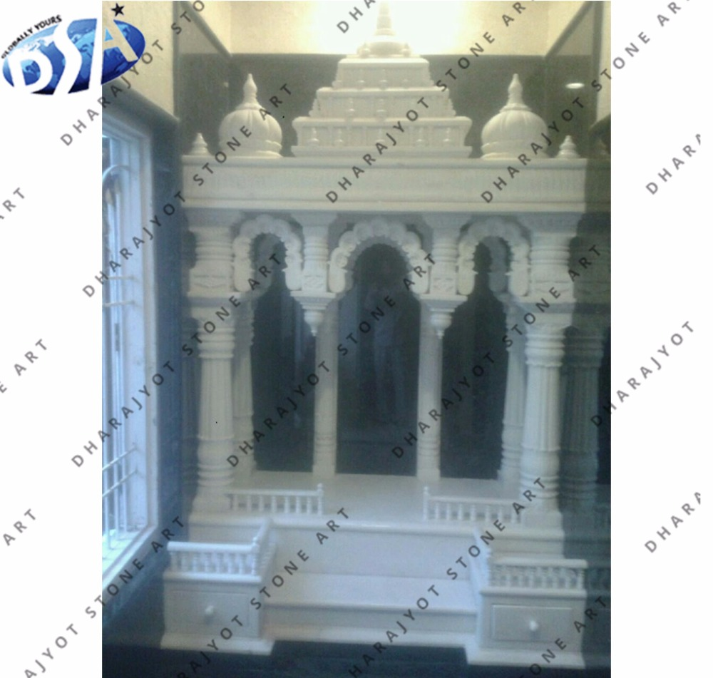 Natural White Marble Stone Indoor Home Temple Mandir