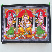 Wholesale lord ganesha indian small wall hanging multi color cotton poster size tapestry decor