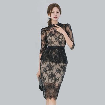 Korean Sexy Fashion Women Black Lace Dress Buy Women New Model Fashion Black Wedding Formal Dress Patterns Lace Dressembroidery Lady Sexy Evening