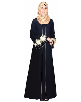 Wholesale Abaya Burqa India Black Abaya With Embellished Bell Sleeve Muslim Dress Islamic Clothing