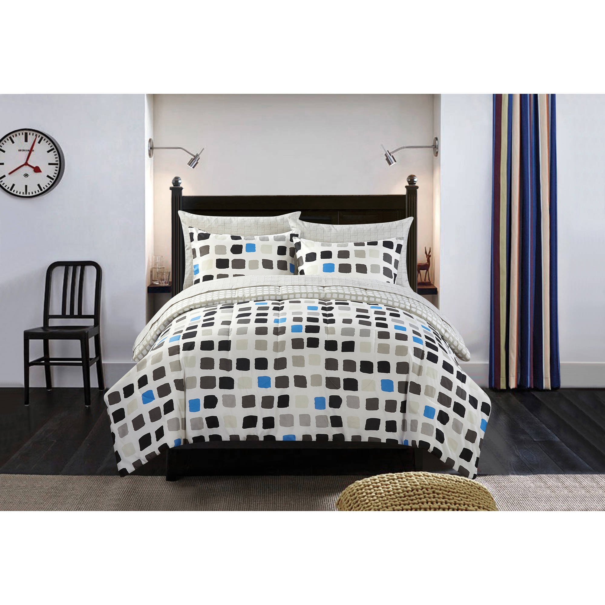7 Piece Black White Metro Block Comforter Set Full, Dark Black Blue Grey Pixel Minecraft Printed Teen Themed, Reversible Chic Grey Silver Block Line Design Kids Bedding For Bedroom, Polyester
