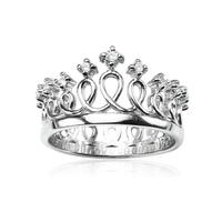 925 Sterling Silver CZ Cubic Zirconia Princess Crown Tiara CZ Band Ring