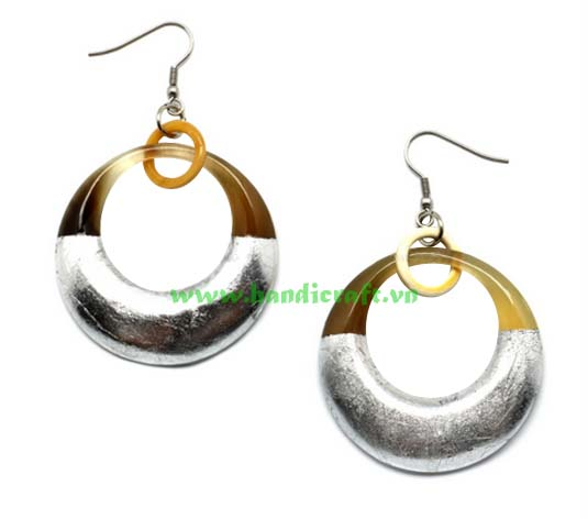 Jewelry Earrings made from silver-plated bull horn are very luxurious HD30017