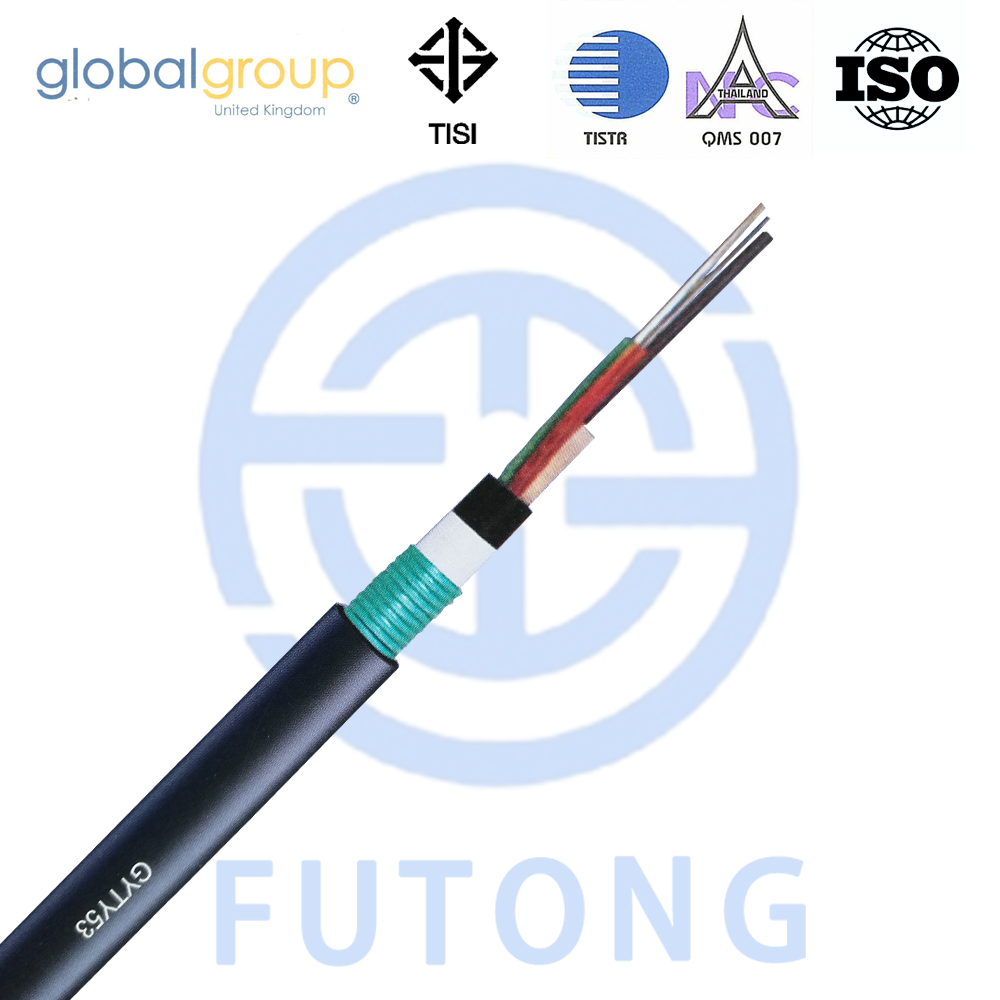Armored direct buried underground strandard loose tube FRP member GYFY53 Anti rodent 48 core optic fiber cable futong brand