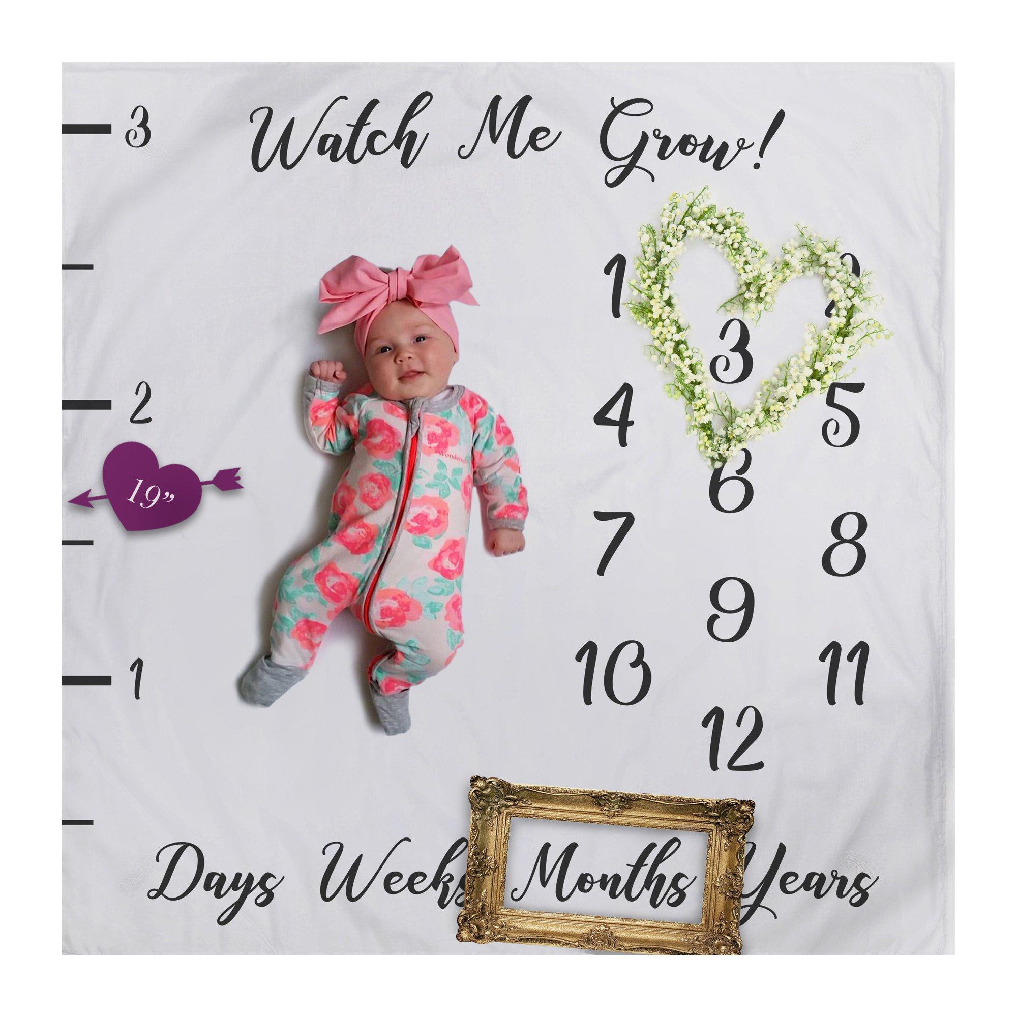 Baby Milestone Fleece Blanket Photography Background Prop: Growing Infants & Toddlers