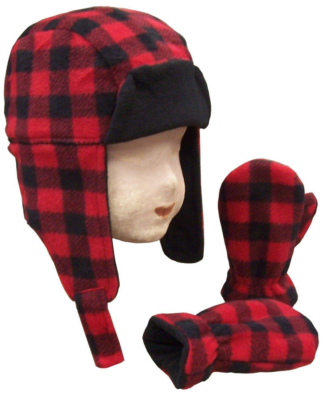 1f6a2880 N'Ice Caps Little Boys and Baby Buffalo Plaid Fleece Trooper Hat Mitten Set