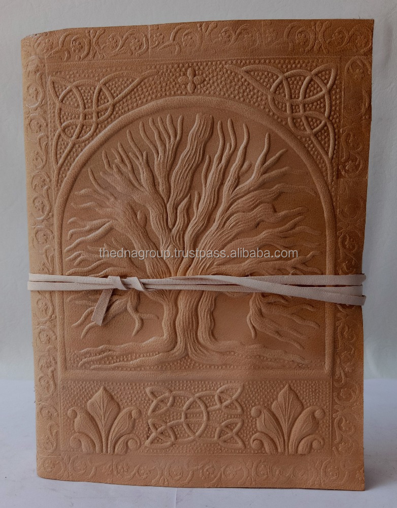 Handmade genuine embossed tree of life strap closure tan color leather journal