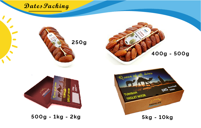 Tunisia Fresh Dates. Branched Dates 5 Kg Carton. ISO certified