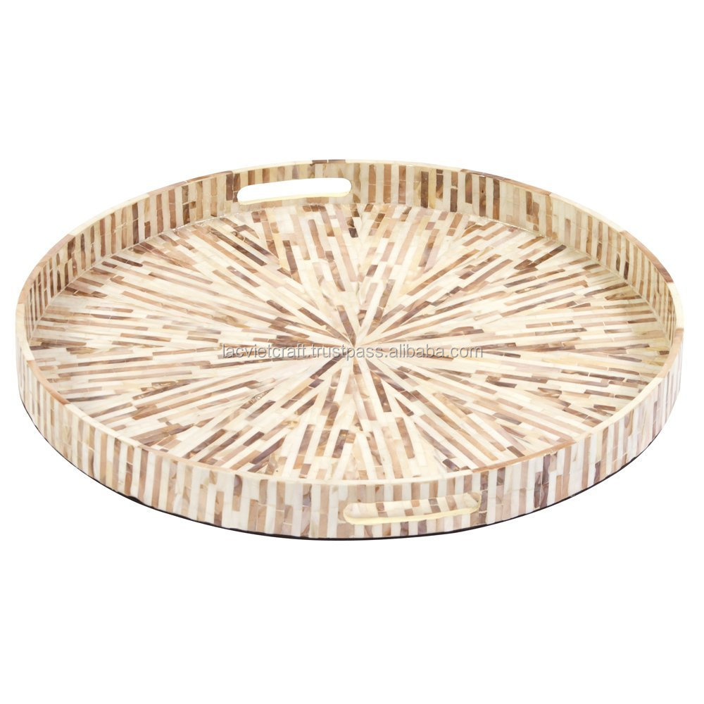 High quality best selling special newest designed natural MOP inlay round serving Tray from Viet Nam