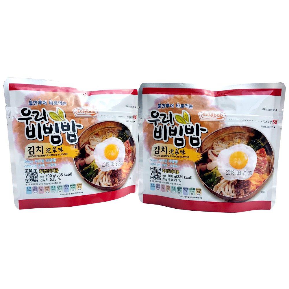 Korean Bibimbap Mixed Rice Bowl (kimchi) 100g (Pack of 2) Camping freeze dry Mre food