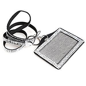Card ID Badge Holder - TOOGOO(R) Horizontal Resin Rhinestone Work Card ID Case Holder Lanyard Sling (Silver)