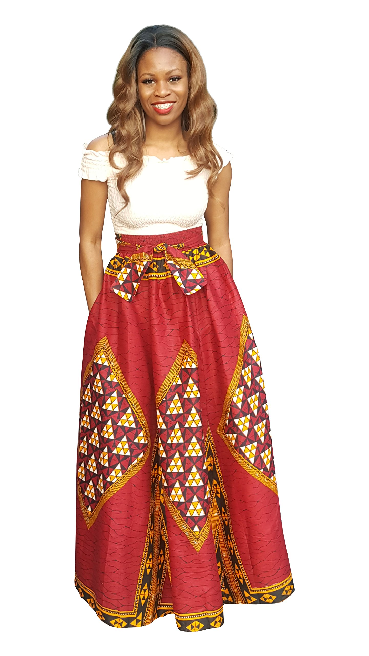 eb25605b643b29 Get Quotations · Dupsie's Red African Print Diamond High Waist Maxi Skirt