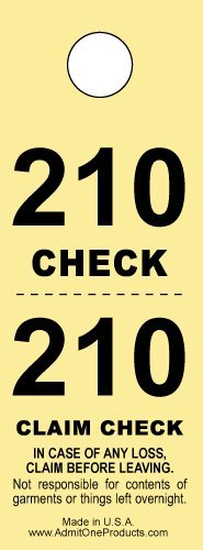 Two-part Coat Room Checks -- Coat Check Tags -- 2 Part Yellow -- 500 Count