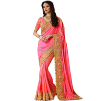 Hot Pink Georgette Silk Party Wear Saree / Buy Wholesale Silk Sarees Online / Shop Indian Silk Georgette Online