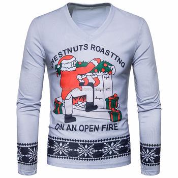 283ba69b Custom high quality slim fit t shirts Men V-neck Christmas tee shirts