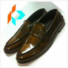 Best Quality Handmade Glossy Brown Penny Loafer Men Genuine Leather Dress Shoes Style MY-90716