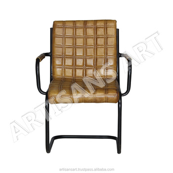 Vintage Cantilever Arm Chair Leather, Leather Arm Chair With Square Quilted  U0026 Padded Seat,