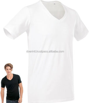 1a5c8fe378f Mens Plain Cotton Grey Black Or White Deep Low Vee V-neck Tee T ...