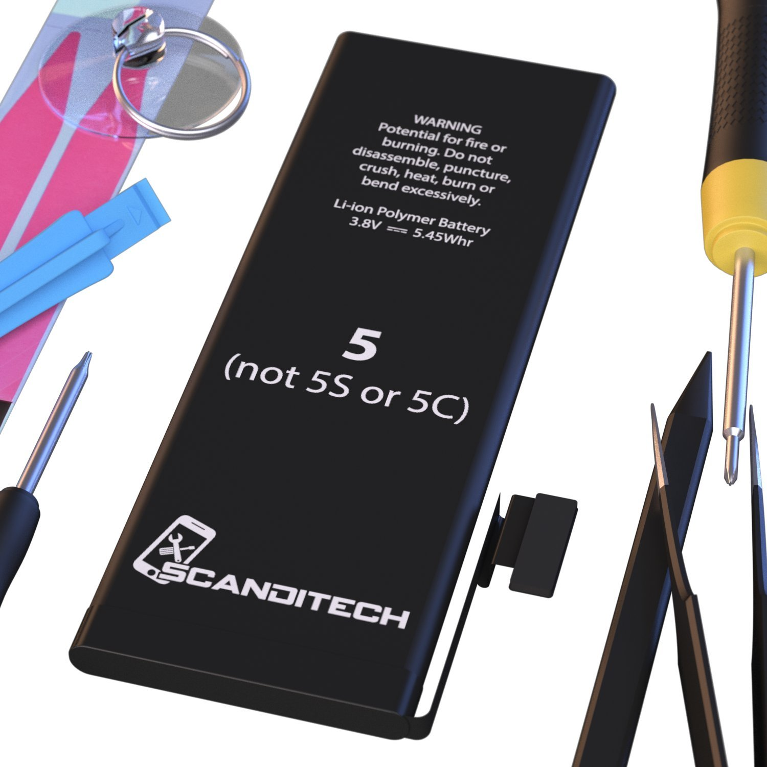 ScandiTech Battery Model iP5 - Replacement Kit with Tools, Adhesive & Instructions - New 1440 mAh 0 Cycle Battery - Repair Your Phone in 15 min - 1 Year Warranty