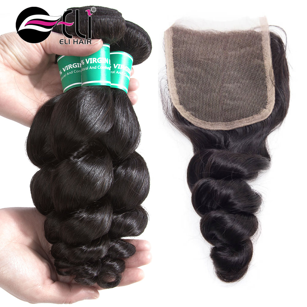 ELI HAIR Unprocessed Virgin Brazilian Human Hair Extensions Loose Wave Bundles With Closure