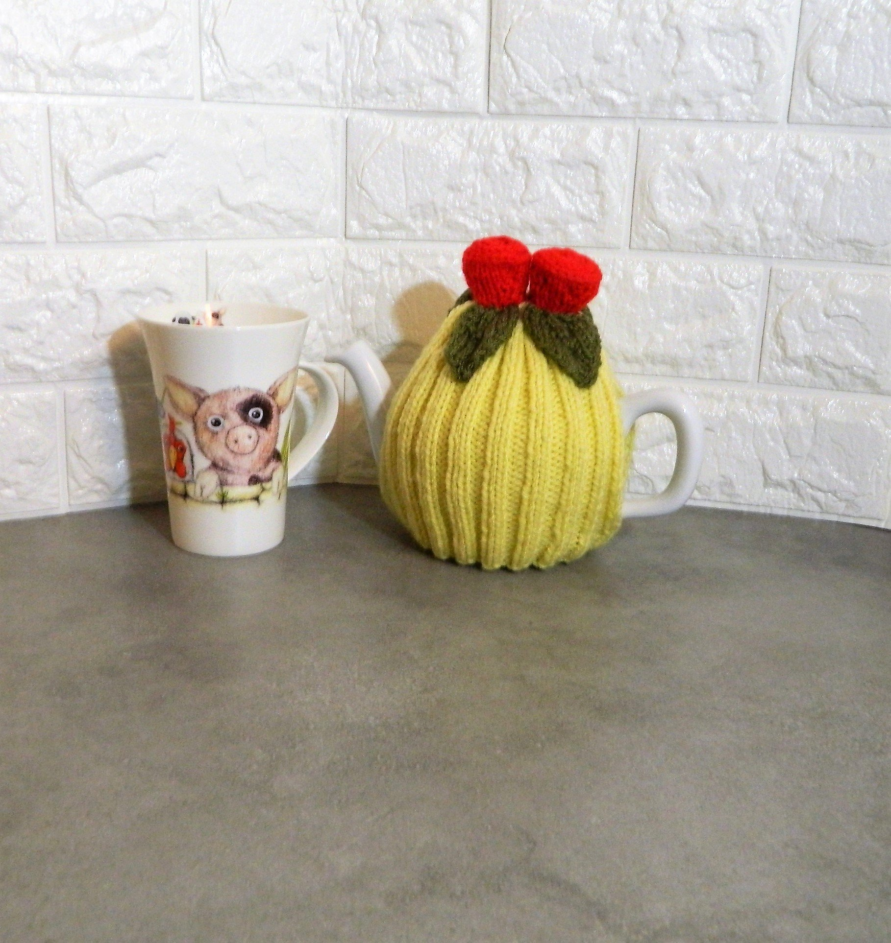 Hand Knitted Red Rose flower tea cosy with lemon 2 - 4