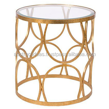 Round Gold Leaf Side Coffee Table Metal Frame Gl Top Decorative Living Room Accent Furniture End And