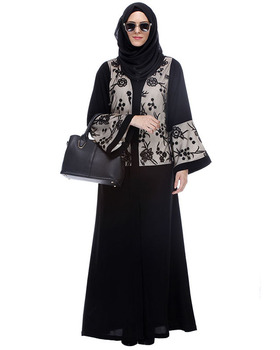 Dubai Abaya Dress Black Abaya With Net Embroidered Sleeves Muslim Dress Islamic Clothing