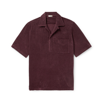 OEM custom New fashion mens Camp Collar Cotton Blend Terry Polo t Shirt side slits polo shirts men