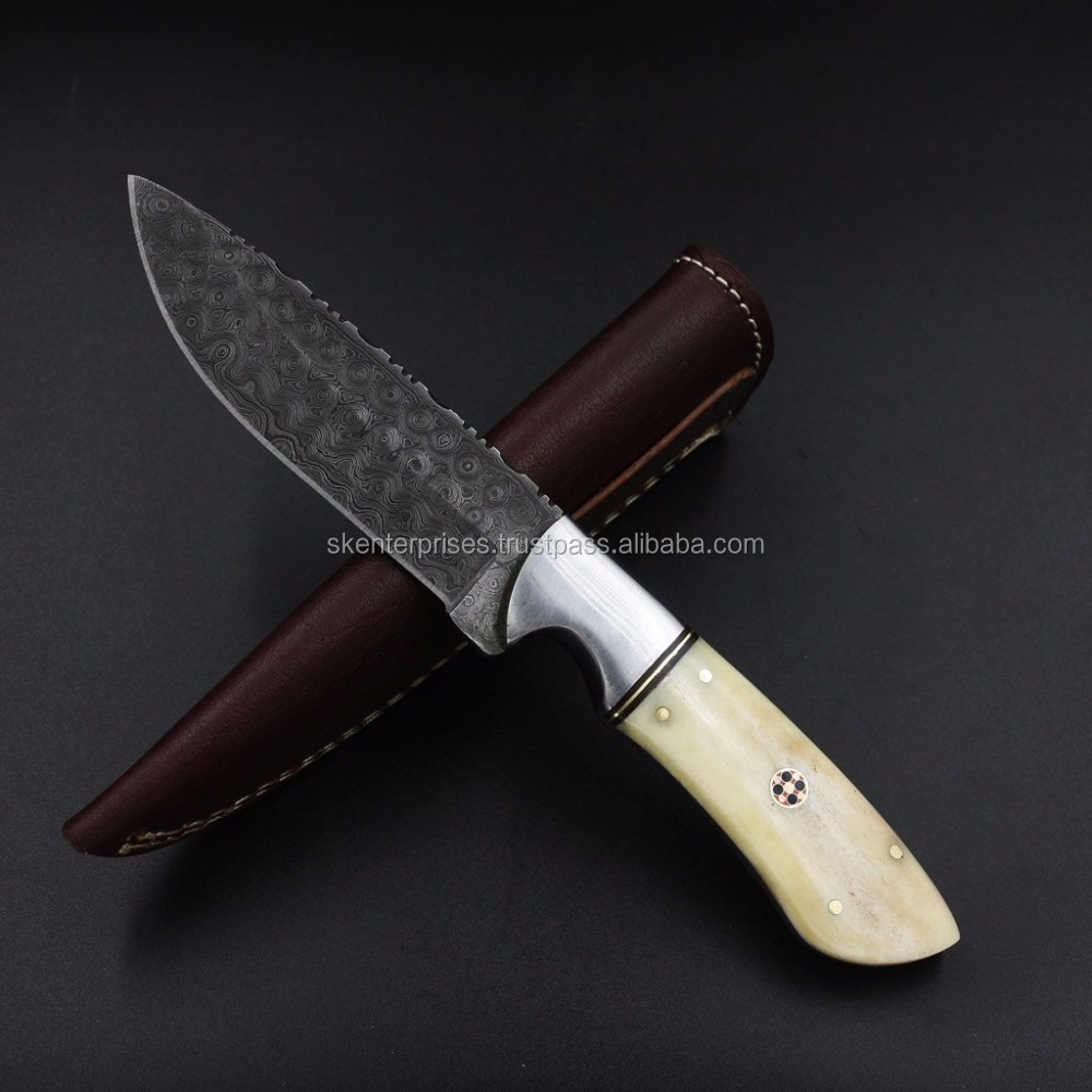 Hand Made Damascus Steel Hunting Knife Handle Camel bone And Mosaic Pin with file work SK-309