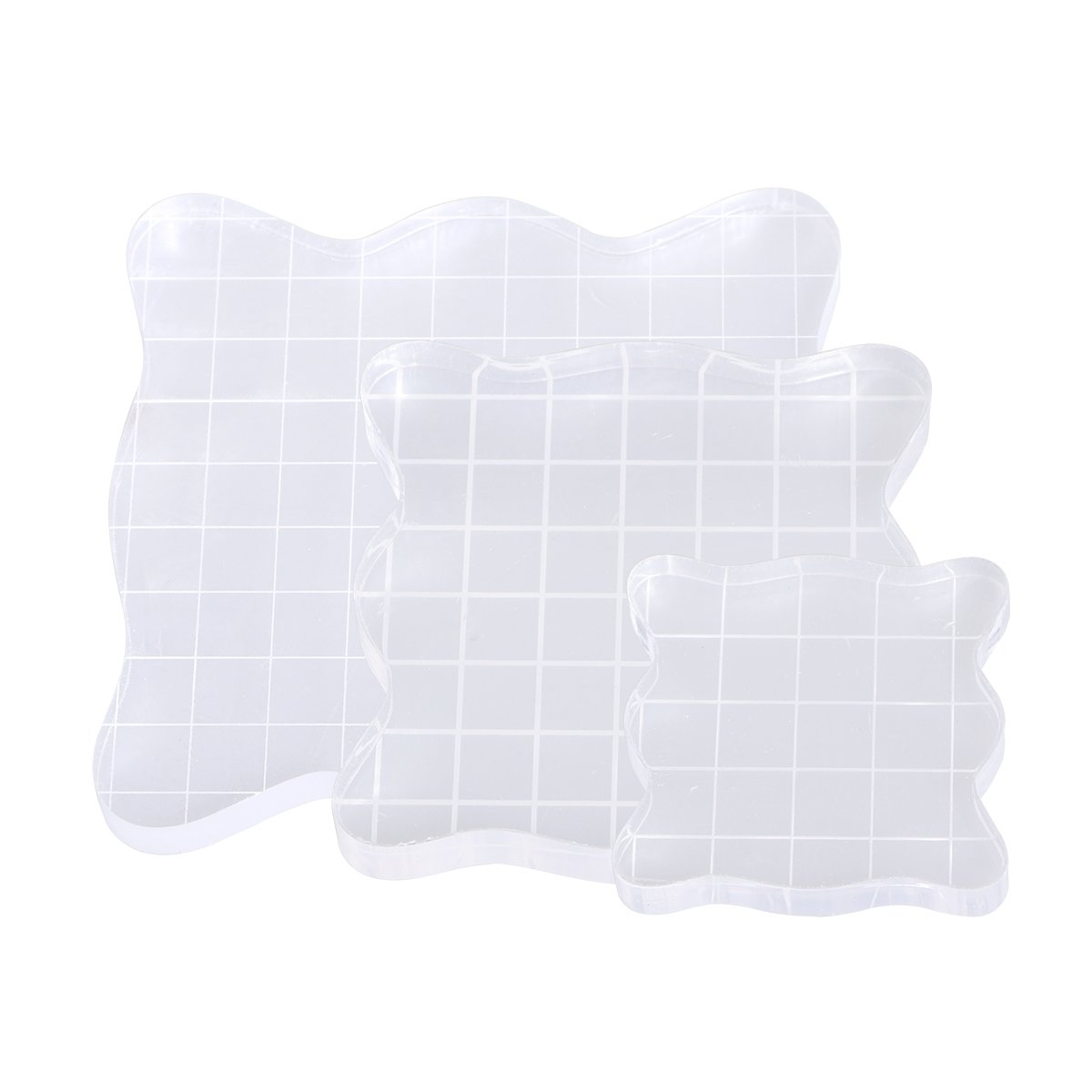 MagiDeal Clear Acrylic Block Stamp Blocks with Grid Stamping Craft Tool DIY 160x60mm