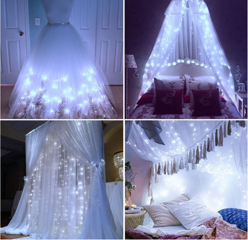 BomTech Window Curtain Icicle Lights, 304 LEDs String Fairy Lights, 9.8x9.8ft, 8 Modes Linkable , Daylight Warm White , Christmas/Wedding/Season/home/Party Backdrops Decorative Lights (Warm White)