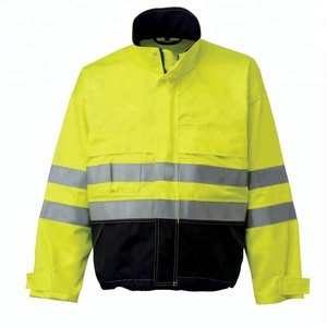 Fluorescent Water & Oil Resistant/Safety Hi Vis Workwear Uniform Jacket/ With Reflective Stripes and Fleece lining