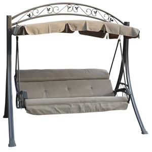 Deluxe Outdoor Metal Garden Swing Chair Canopy Glider With Removable Cushion