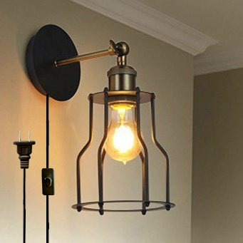 Kiven Iron Cage Lamp Shade Retro Industrial Edison Antique Style Wall Lamp E26 UL Certification Plug-In Button Switch Cord Fixture Lights Wall Sconce Bulbs Included