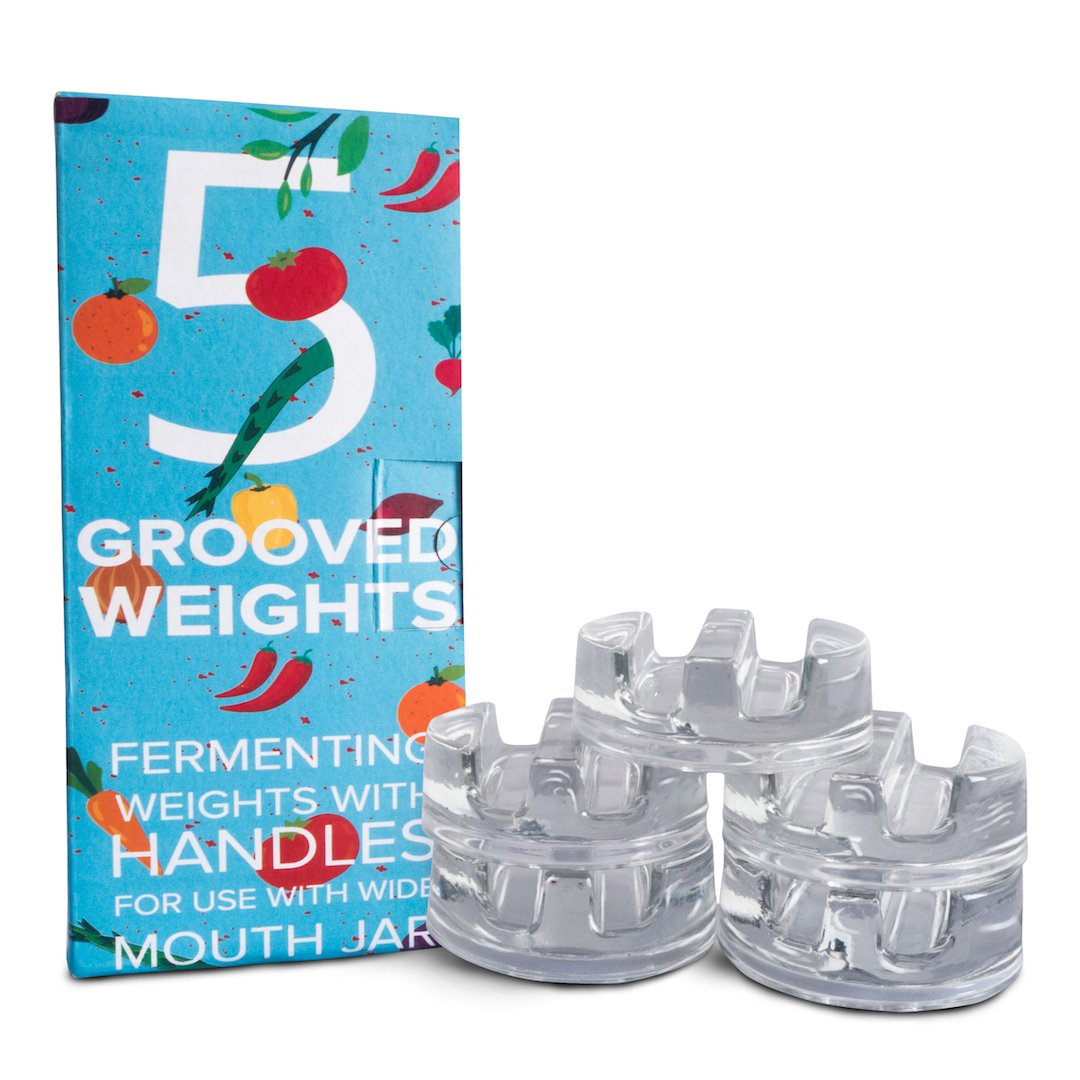 Grooved Weights - Set of 5 - Fermenting Weights with Grooved Handle - Fits Any Wide Mouth Mason Jar - Preservation, Pickling, Fermentation Weights