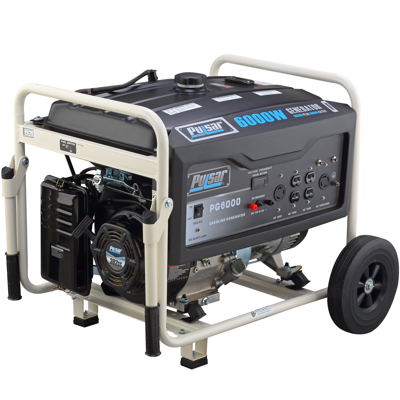Get Quotations · Pulsar PG6000 6000W Peak 5000W Rated Portable Gas-Powered  Generator