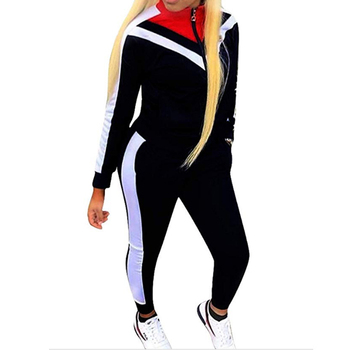 Custom Apparel 2 Piece Outfits Women V Contrast Striped Tracksuits Set -  Buy Contrast Color Tracksuit,Woman Sweat Suits Sets,Women Suits Product on
