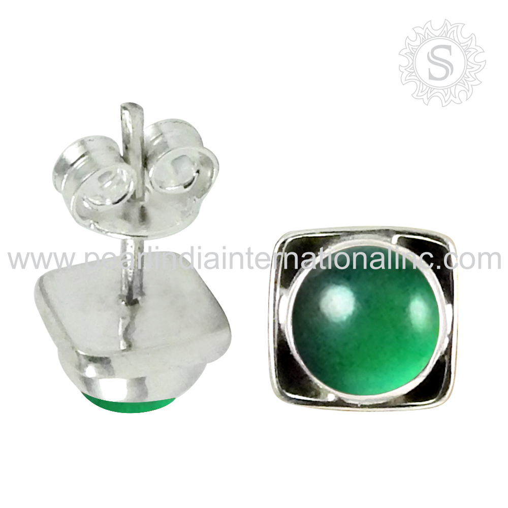 Stunning design green onyx gemstone earring 925 sterling handmade craft silver jewelry earrings exporters