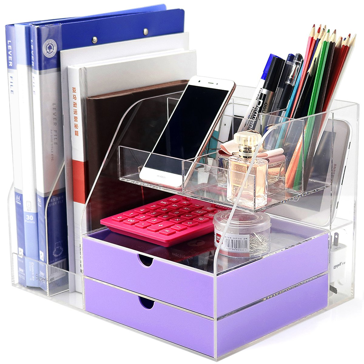 Dycacrlic Desktop Organizer For Home Office Supplies Files Pen And Desk Accessories Organization Clear