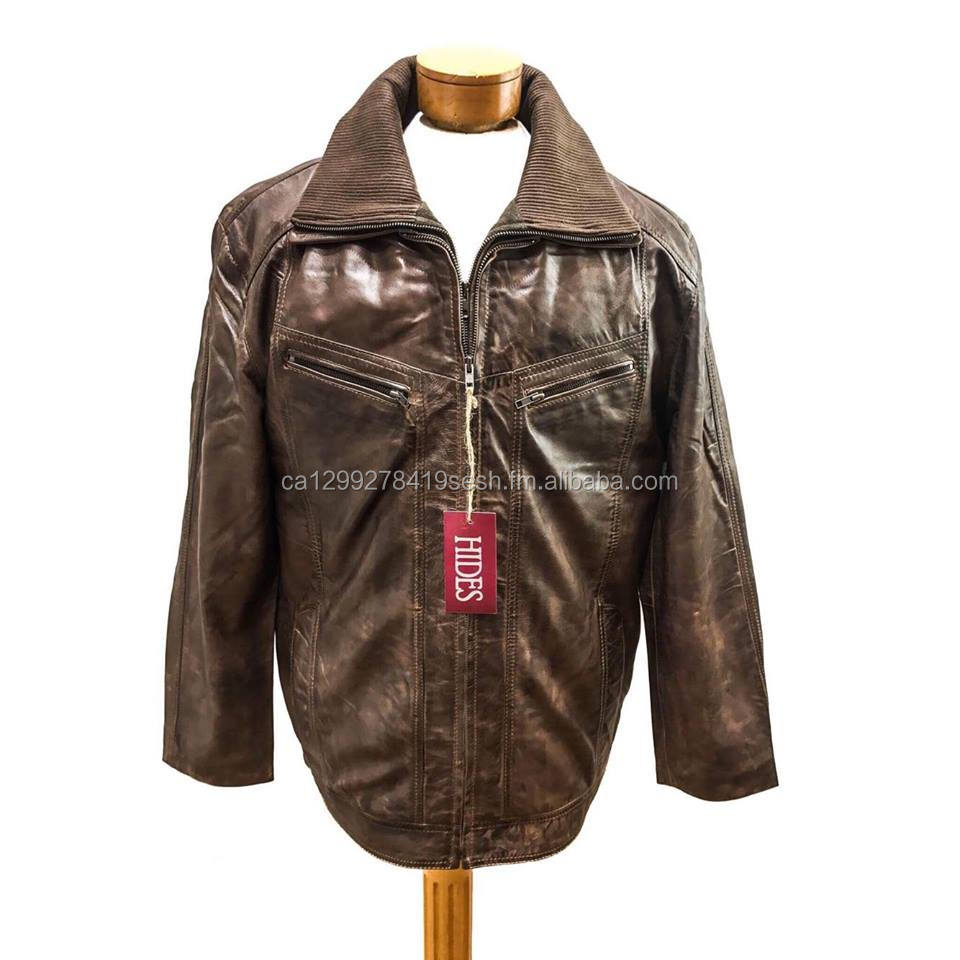 Mens Lamb Leather Removable Collar Jacket