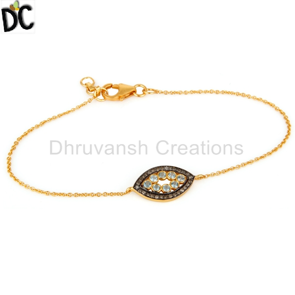 Blue Topaz Gemstone Diamond Chain Bracelet Gold Plated Sterling Silver Girls Bracelet Jewelry Manufacturer