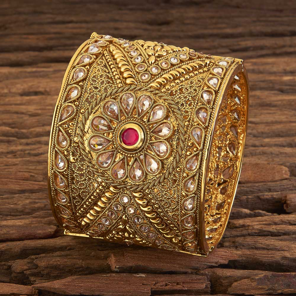 Classic Traditional Bangles With Gold Plating 17431 Ruby