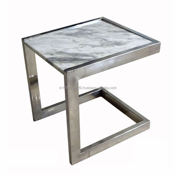 Stool Side Table With Agate Stone